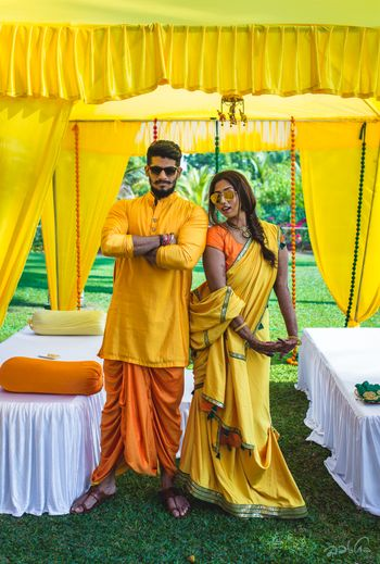 Fun matching outfits for bride and groom for haldi function