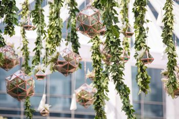 Engagement decor idea with hanging orbs