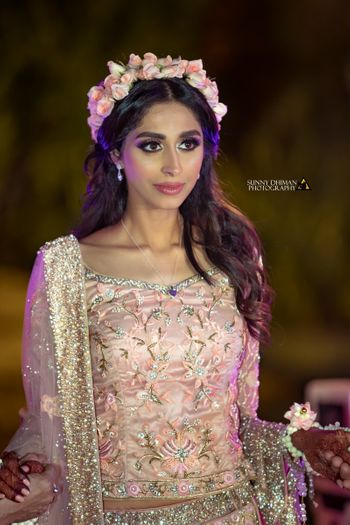 Photo of Engagement bridal look with floral headband