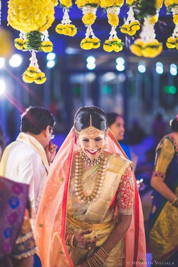 Photo of Happy bride with dupatta and saree