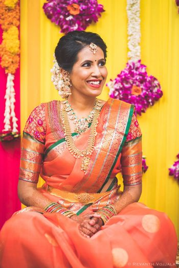 Photo of South Indian bride with patchwork blouse