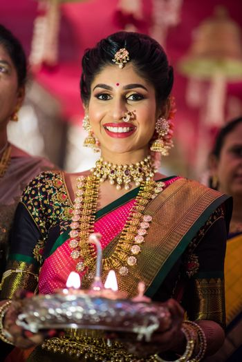 South Indian bridal look with layered jewellery