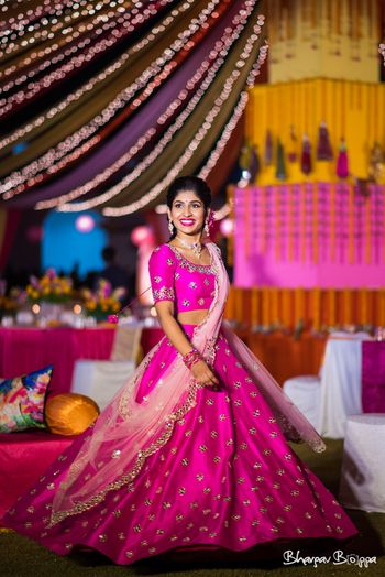 Bright pink lehenga for sangeet or cocktail