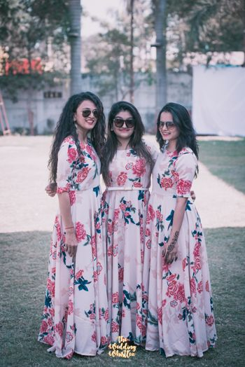 Long flowy flower print dresses for bridesmaids