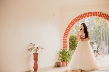 Beautiful christian bride in bridal white wedding gown