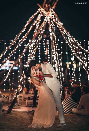 Romantic couple shot with fairy light decor