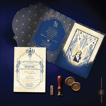 Photo of Gatsby theme sangeet wedding card