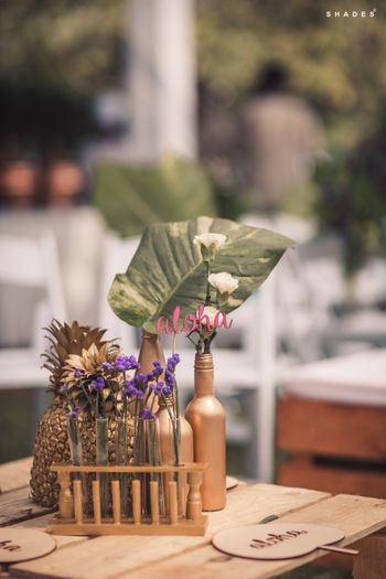 DIY rustic decor with pineapple centrepiece
