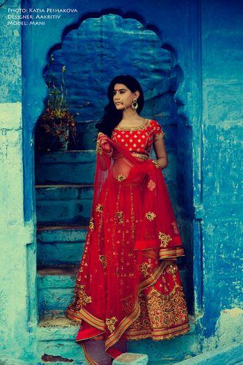 deep red bridal lehenga