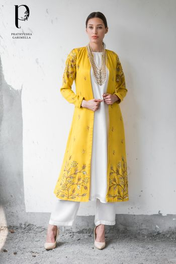 Photo of Unique jacket outfit in yellow and white with straight pants