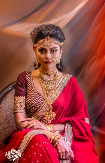 Unique bridal portrait with layered gold jewellery