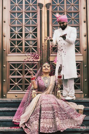 Purple bridal lehenga cute couple portrait
