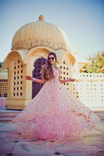 Girly light pink lehenga for engagement or mehendi