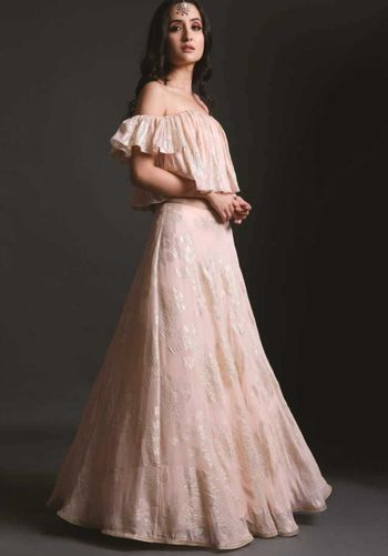 Photo of Engagement outfit soft pink lehenga with off shoulder blouse
