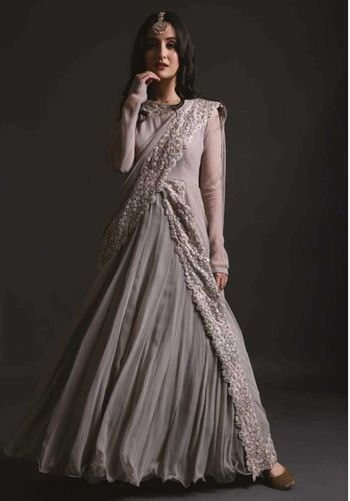 Engagement or roka fusion outfit in grey
