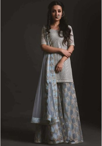 Sister of the bride outfit sharara with long grey kurta