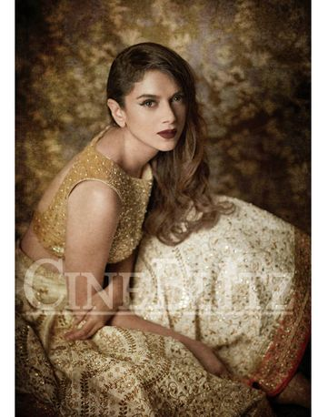 Photo of shimmery gold and white lehenga