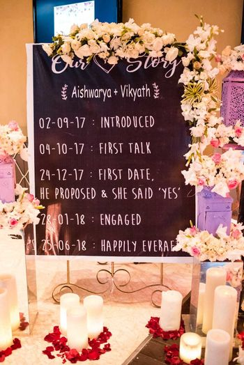 Engagement decor idea personal love story board