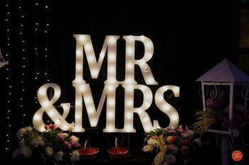 Mr and mrs props for reception decor