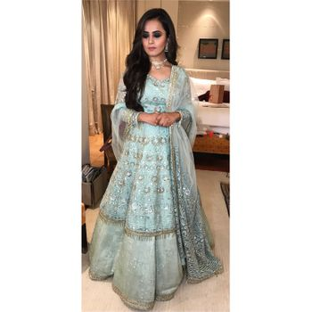 Pretty pastel powder blue anarkali with heavy work