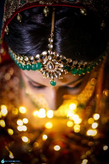 Top angle bridal portrait showing mathapatti