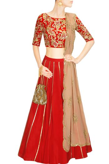 Photo of simple red lehenga