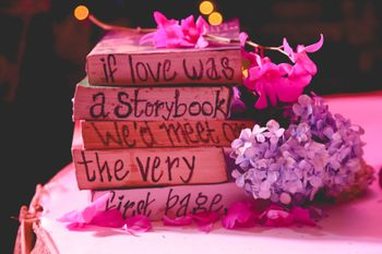 Photo of book table centerpieces