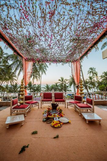 Open mandap decor with dried and fresh flowers