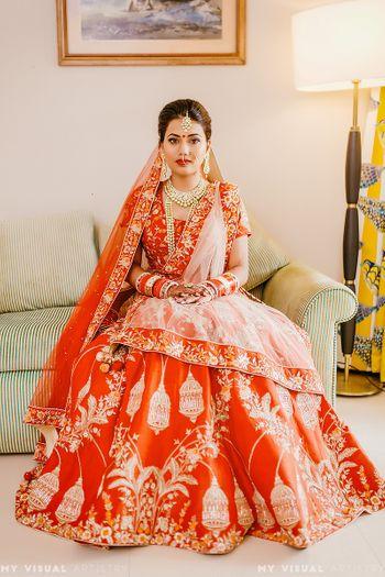 Lehenga with birdcage motif in red and gold