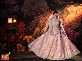 Silver and pink floral embellishment lehenga