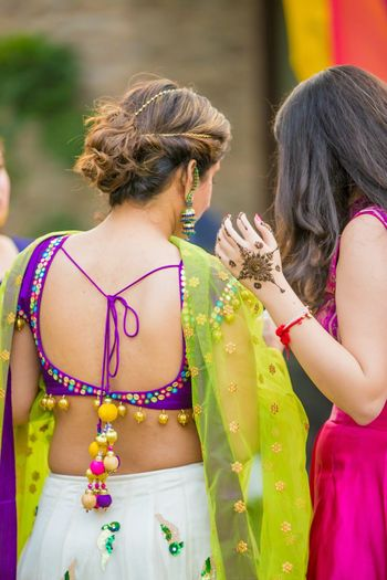 Mehendi blouse back style with tassels
