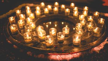 Beautiful candle setting with props