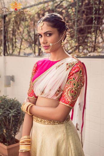Photo of pink and white lehenga
