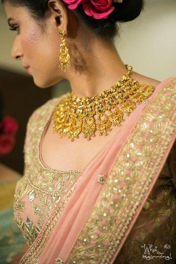 Gold antique finish bridal necklace