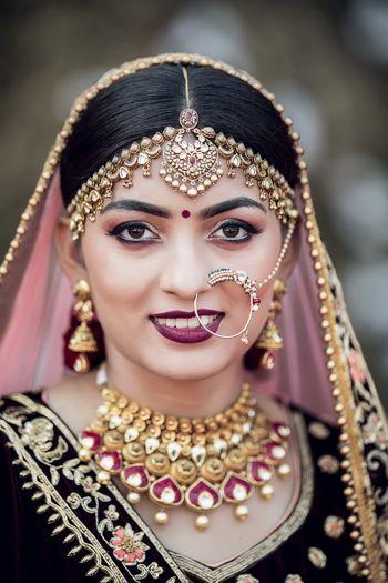 Bride with dark vampy lips