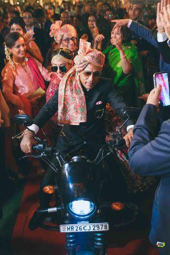 Unique bridal entry on bike