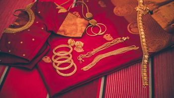 South Indian jewellery with bridal outfit