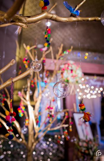 Photo of Cute Wishing Tree Decor with Pompoms and Glass Balls
