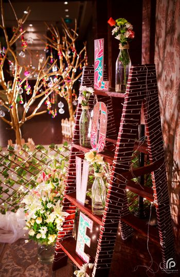Love Wooden Blocks Arrangement on Ladder Decor