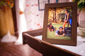 Photo of Wedding Photo Display Idea in Frame on Table