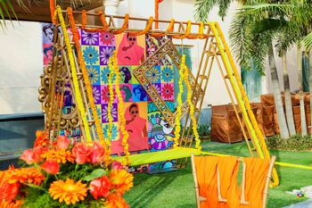 Photo of A jhoola decorated with flowers for mehendi ceremony.