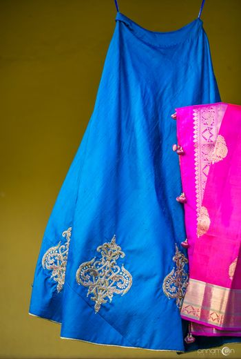 Blue and pink kanjivaram lehenga