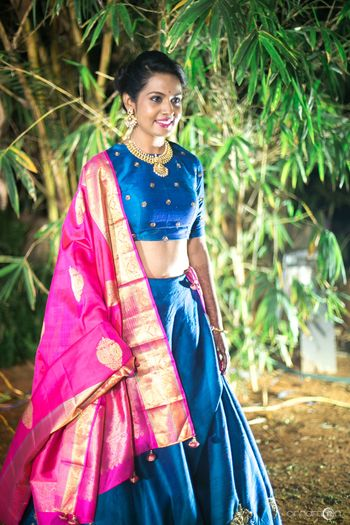 South Indian bride in kanjivaram lehenga