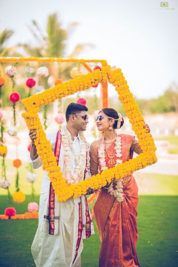 Modern South Indian wedding couple