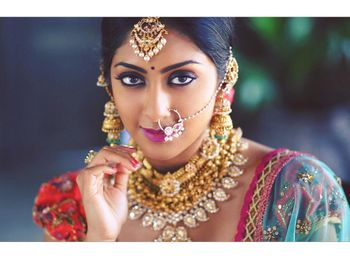 Photo of Gold jewellery on south indian bride