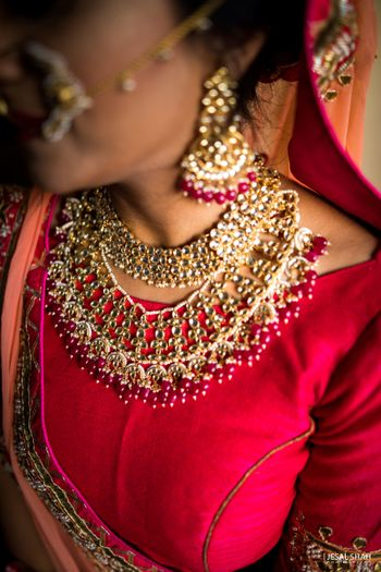 Pretty pink bridal necklace with kundan choker