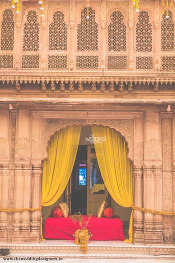 Photo of haldi yellow drapes
