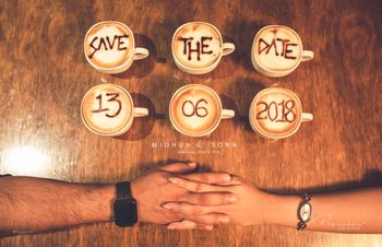 Photo of Unique coffee save the date shoot