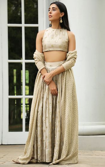 Grey mirror work lehenga