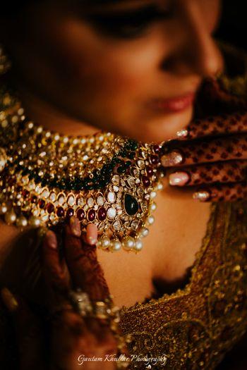 Bridal necklace close up shot